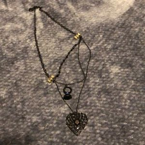 Betsey Johnson necklace with black heart
